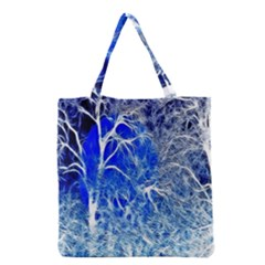 Winter Blue Moon Fractal Forest Background Grocery Tote Bag