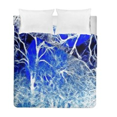 Winter Blue Moon Fractal Forest Background Duvet Cover Double Side (full/ Double Size) by Simbadda