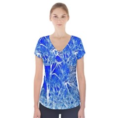 Winter Blue Moon Fractal Forest Background Short Sleeve Front Detail Top
