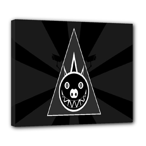 Abstract Pigs Triangle Deluxe Canvas 24  X 20   by Simbadda