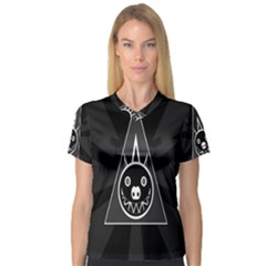 Abstract Pigs Triangle Women s V Neck Sport Mesh Tee by Simbadda