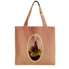 Digital Art Minimalism Nature Simple Background Palm Trees Volcano Eruption Lava Smoke Low Poly Circ Zipper Grocery Tote Bag by Simbadda