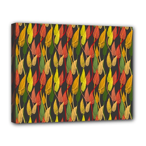 Colorful Leaves Yellow Red Green Grey Rainbow Leaf Canvas 14  X 11  by Alisyart