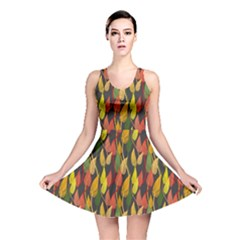 Colorful Leaves Yellow Red Green Grey Rainbow Leaf Reversible Skater Dress