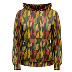 Colorful Leaves Yellow Red Green Grey Rainbow Leaf Women s Pullover Hoodie