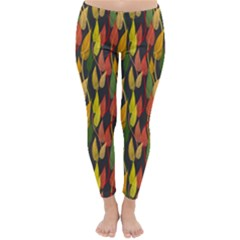 Colorful Leaves Yellow Red Green Grey Rainbow Leaf Classic Winter Leggings
