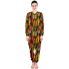 Colorful Leaves Yellow Red Green Grey Rainbow Leaf Onepiece Jumpsuit (ladies)