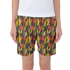 Colorful Leaves Yellow Red Green Grey Rainbow Leaf Women s Basketball Shorts by Alisyart
