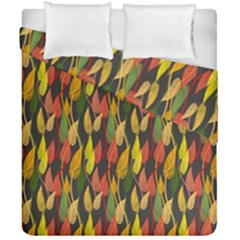 Colorful Leaves Yellow Red Green Grey Rainbow Leaf Duvet Cover Double Side (california King Size) by Alisyart