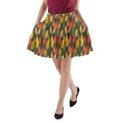 Colorful Leaves Yellow Red Green Grey Rainbow Leaf A-line Pocket Skirt by Alisyart