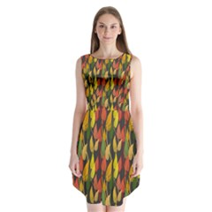 Colorful Leaves Yellow Red Green Grey Rainbow Leaf Sleeveless Chiffon Dress