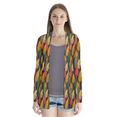 Colorful Leaves Yellow Red Green Grey Rainbow Leaf Cardigans by Alisyart