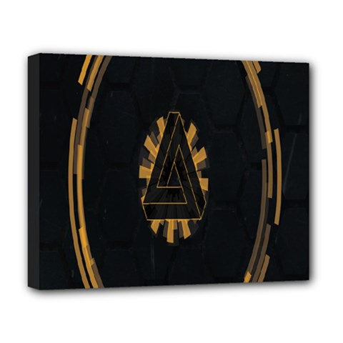 Geometry Interfaces Deus Ex Human Revolution Deus Ex Penrose Triangle Deluxe Canvas 20  X 16   by Simbadda