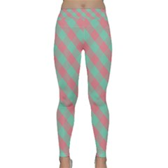 Cross Pink Green Gingham Digital Paper Classic Yoga Leggings