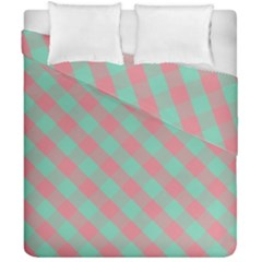 Cross Pink Green Gingham Digital Paper Duvet Cover Double Side (california King Size) by Alisyart