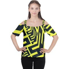 Pattern Abstract Women s Cutout Shoulder Tee