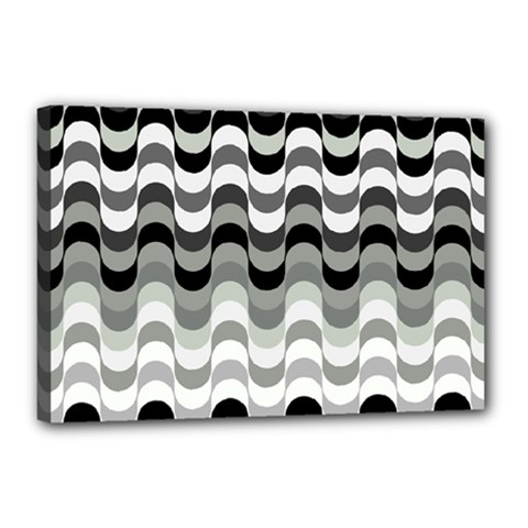 Chevron Wave Triangle Waves Grey Black Canvas 18  X 12  by Alisyart