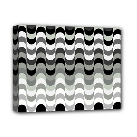 Chevron Wave Triangle Waves Grey Black Deluxe Canvas 14  X 11  by Alisyart