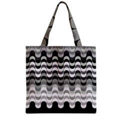 Chevron Wave Triangle Waves Grey Black Grocery Tote Bag by Alisyart