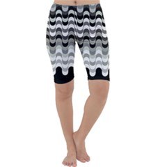 Chevron Wave Triangle Waves Grey Black Cropped Leggings  by Alisyart