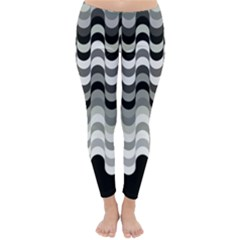 Chevron Wave Triangle Waves Grey Black Classic Winter Leggings