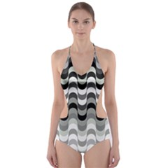 Chevron Wave Triangle Waves Grey Black Cut Out One Piece Swimsuit