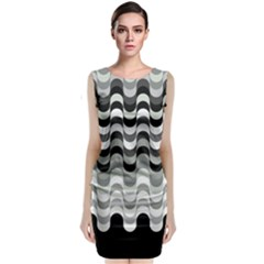 Chevron Wave Triangle Waves Grey Black Classic Sleeveless Midi Dress
