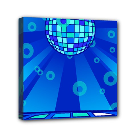 Disco Ball Retina Blue Circle Light Mini Canvas 6  X 6