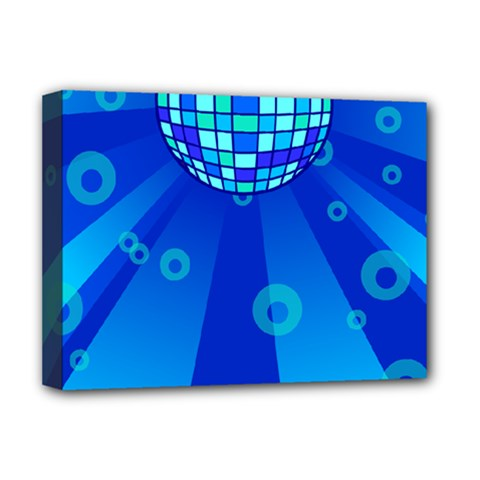 Disco Ball Retina Blue Circle Light Deluxe Canvas 16  X 12