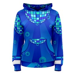 Disco Ball Retina Blue Circle Light Women s Pullover Hoodie