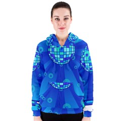 Disco Ball Retina Blue Circle Light Women s Zipper Hoodie by Alisyart