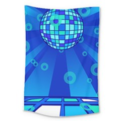 Disco Ball Retina Blue Circle Light Large Tapestry by Alisyart