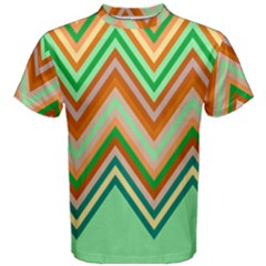 Chevron Wave Color Rainbow Triangle Waves Men s Cotton Tee by Alisyart