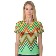 Chevron Wave Color Rainbow Triangle Waves Women s V Neck Sport Mesh Tee by Alisyart