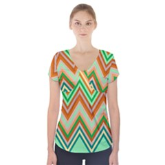 Chevron Wave Color Rainbow Triangle Waves Short Sleeve Front Detail Top by Alisyart