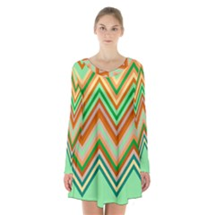 Chevron Wave Color Rainbow Triangle Waves Long Sleeve Velvet V Neck Dress