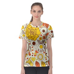 Cute Fall Flower Rose Leaf Star Sunflower Orange Women s Sport Mesh Tee