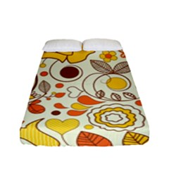 Cute Fall Flower Rose Leaf Star Sunflower Orange Fitted Sheet (full/ Double Size)
