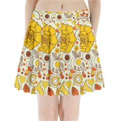 Cute Fall Flower Rose Leaf Star Sunflower Orange Pleated Mini Skirt