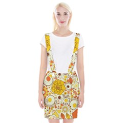 Cute Fall Flower Rose Leaf Star Sunflower Orange Suspender Skirt