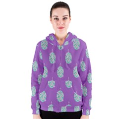 Disco Ball Wallpaper Retina Purple Light Women s Zipper Hoodie by Alisyart