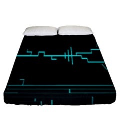 Blue Aqua Digital Art Circuitry Gray Black Artwork Abstract Geometry Fitted Sheet (queen Size) by Simbadda