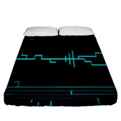 Blue Aqua Digital Art Circuitry Gray Black Artwork Abstract Geometry Fitted Sheet (king Size) by Simbadda