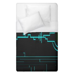 Blue Aqua Digital Art Circuitry Gray Black Artwork Abstract Geometry Duvet Cover (single Size)