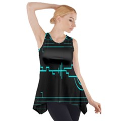 Blue Aqua Digital Art Circuitry Gray Black Artwork Abstract Geometry Side Drop Tank Tunic