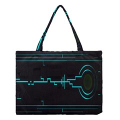 Blue Aqua Digital Art Circuitry Gray Black Artwork Abstract Geometry Medium Tote Bag by Simbadda