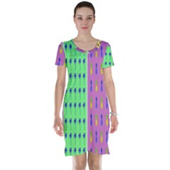 Eye Coconut Palms Lips Pineapple Pink Green Red Yellow Short Sleeve Nightdress
