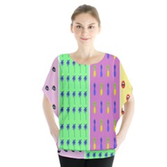 Eye Coconut Palms Lips Pineapple Pink Green Red Yellow Blouse by Alisyart