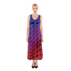 Colorful Red & Blue Gradient Background Sleeveless Maxi Dress