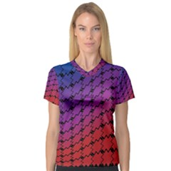 Colorful Red & Blue Gradient Background Women s V Neck Sport Mesh Tee by Simbadda